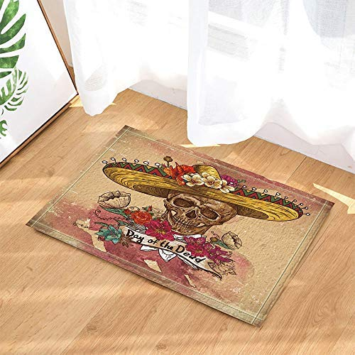 ikanischen Artist Residence Dekoration, Sugar Skull In Sombrero und Blumen Bad Teppich Anti-Rutsch-Fußmatte Boden Eingang Indoor Haustürmatte Kinder Bad-Accessoires ()