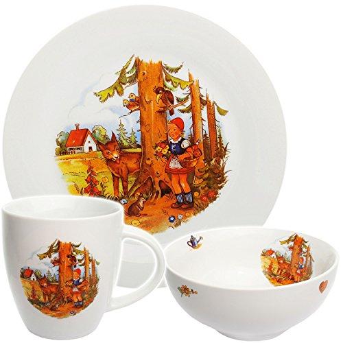alles-meine.de GmbH 3 TLG. Geschirrset -  Märchen - Rotkäppchen und der böse Wolf  - Porzellan / Keramik - Trinktasse + Teller + Müslischale / Suppenschüssel - Kindergeschirr -..
