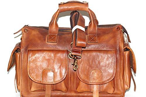 Reisetasche Umhängetasche Unisex Hochwertig Leder Kupfer Hardware Perfekt Größe Braun
