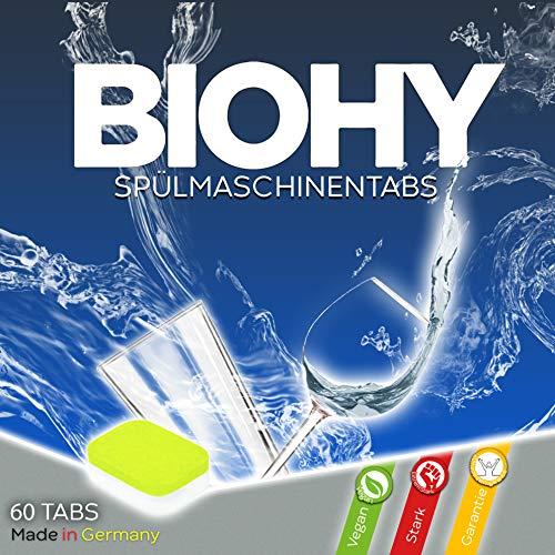 BIOHY Spülmaschinentabs | 2-Phasen- hochwirksamer Geschirr-Reiniger | Geschirrspültabs für kraftvolle Reinigung | 60 Tabs Vorratspackung