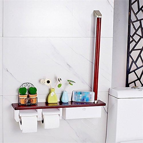 Jnyzq manubri da bagno multifunzionali in legno palo con manico due rotoli di carta da bagno porta asciugamani da bagno per uso professionale porta carta igienica wc wc