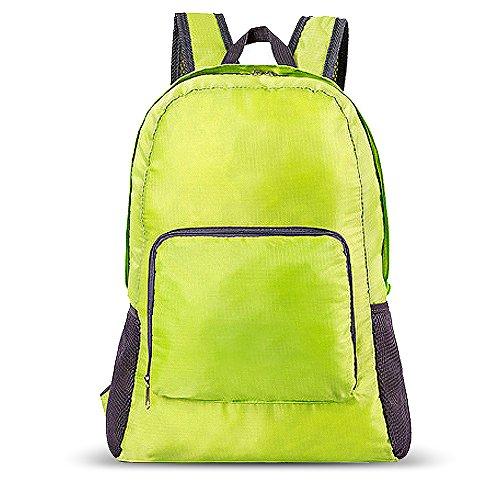Zaino pieghevole da AOKE 20L borsa acquistabile resistente all'acqua leggera per il camping outdoor da corsa ciclismo verde brillante verde
