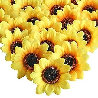 HUAESIN 50pcs Flores Artificiales Amarillas Flores de Girasoles Artificiales Pequeños Cabeza de Girasol de Seda 7cm para Boda Partido Decoración DIY Arte Ropa Tarta Bautizo Fiesta Cumpleaños
