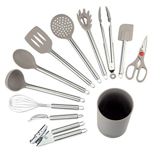 nexgadget Küche Utensilien–12-teiliges Kochutensilien–Aluminiumguss Küchenutensilien-Set–Edelstahl und Silikon-Kit