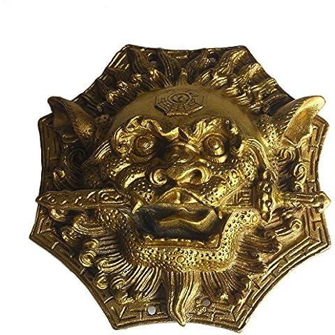 Fengshui in ottone leone leone Bites la spada decorazione + 5diverse dinastie monete