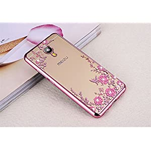 Meizu M5 Five ( Rose Pink Color ) Shockproof Silicone Soft Tpu Transparent Shining Flower Stylish Case With Sparkle Crystals Back Cover Case Brand Dustin