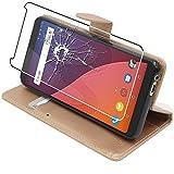 ebestStar - Wiko View Hülle View 16GB 32GB Kunstleder Wallet Case Handyhülle [PU Leder], Kartenfächern Standfunktion, Gold + Panzerglas Schutzfolie [Phone: 151.5 x 73.1 x 8.7mm, 5.7'']
