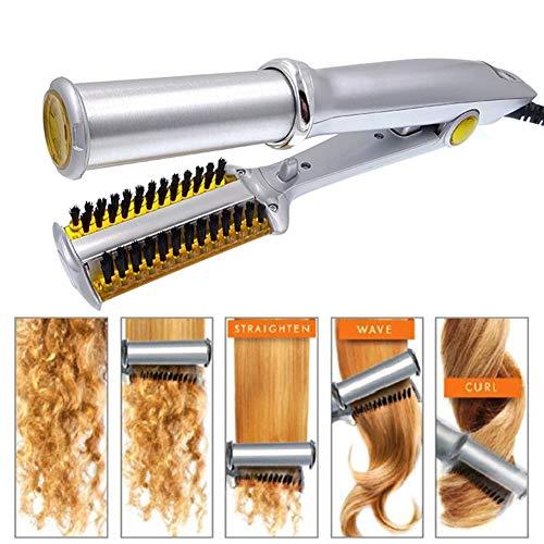 QQ&PP Bigoudis céramique Thermostat Lisseur/boucleur Rotatif 2-en-1-360° Convient pour Cheveux secs et humides(Y Compris Peigne, Sacs de Rangement)