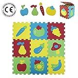 LUDI – Tapis de sol épais pour l'éveil de bébé – 1052 - puzzle géant aux motifs Fruits et Légumes – dès 10 mois – lot de 9 dalles en mousse multicolores et 20 éléments pour tapis de jeu.