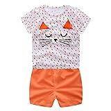 Jimmackey Neonato Unisex T- Shirt Fumetto Gatto Camicia Cime + Pantaloncini Abiti Set (Arancia, 3 anni)