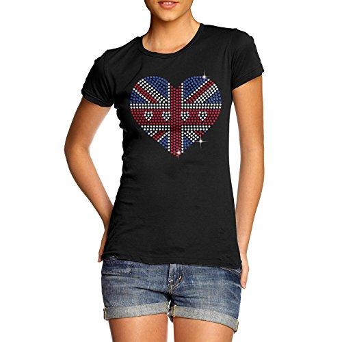 Twisted Envy Damen-T-Shirt Union Jack Herz aus Strass Gr. X-Large, schwarz (Flag Jack Art-union T-shirt)