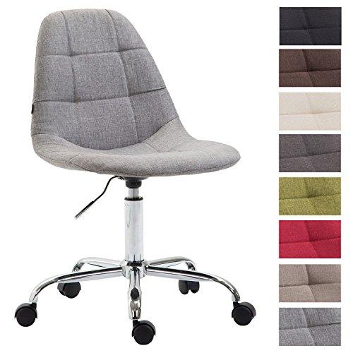 CLP Bürostuhl Reims mit Stoffbezug | Schreibtischstuhl mit gestepptem Sitz | Höhenverstellbarer Arbeitsstuhl mit Metallgestell erhältlich Grau