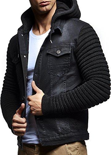LEIF NELSON Herren Jacke Hoodie Strickjacke Kapuzenpullover Vintage Jeansjacke Sweatjacke Strick Jeans LN5240; Gr_¤e S, Schwarz