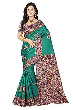 Jaanvi Fashion Women's Khadi Silk Kalamkari Printed Saree (lajo-Green)