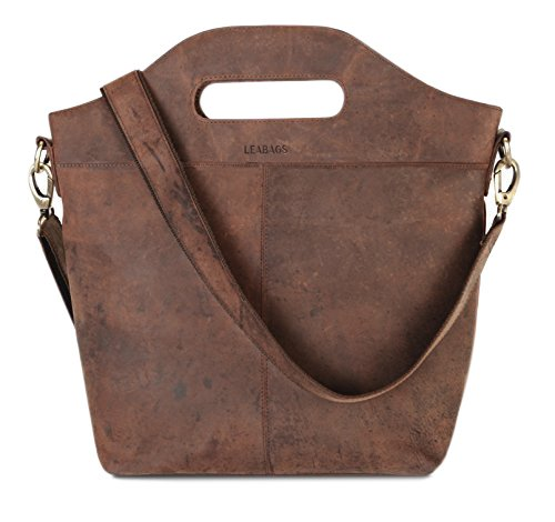LEABAGS Nizza sac cabas rétro-vintage en véritable cuir de buffle - Noix de muscade Noix de muscade