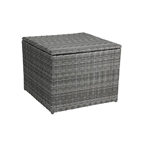 greemotion Eckkissenbox Bari grau, Kissen- und Auflagenbox, Truhe aus Polyrattan, witterungsbeständig und pflegeleicht, Maße ca. 80 x 80 x 65 cm