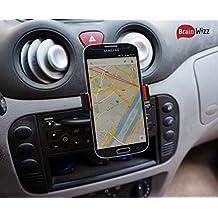 BrainWizz® CD Player - Soporte Universal de Móviles para Ranura del CD de Coches IPhone 6 y 6S y 5S y 5 / Samsung Galaxy S7 y S6 y S5 / HTC One / Sony Xperia / Nokia / LG / Garmin y TomTom GPS y todos los smartphones a 85 mm de anchura