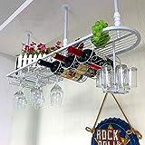 YANGMAN Support à vin en métal monté au Mur, Support de gobelet Suspendu Support de vin inversé Porte-gobelets pour Restaurant Salon Bar 100x25x25 cm,White