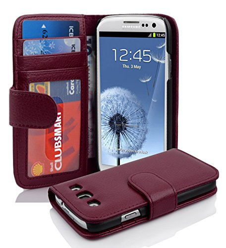 Cadorabo Hülle kompatibel mit Samsung Galaxy S3 / S3 NEO Hülle in BORDEAUX LILA Handyhülle mit 3 Kartenfächern Case Cover Schutzhülle Etui Tasche Book