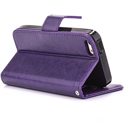 iPhone SE Hülle,iPhone 5S Ledertasche,iPhone 5 Case - Felfy Tasche PU Ledertasche Luxe Eleganz Bookstyle Wallet 3D Relief geprägtes Design Case Ledertasche Schutzhülle Blume Flower Muster Flip Standfu Blume Lila