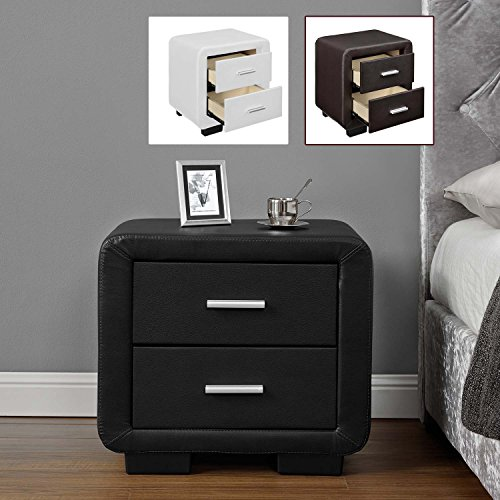 Lazio night stand 2 drawer bedside table cabinet faux leather in lazio night stand 2 drawer bedside table cabinet faux leather watchthetrailerfo