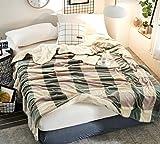 Max Home Weiche Decke verdicken einzelne Doppel Breathable Bequeme warme Blätter Sommer kühlen Quilt Anwendbar auf Stuhl Sofa Bett (Farbe : Green-Gray Large Lattice, größe : 150 * 200cm)