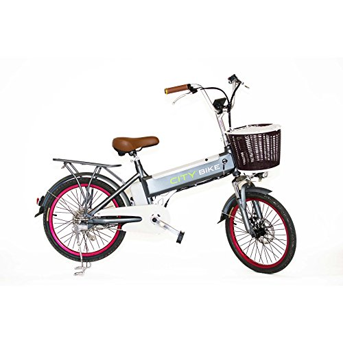 BICICLETA ELECTRICA CITY BIKE GRIS