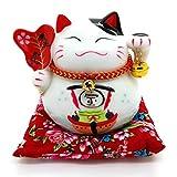 Bimbomshop Winkekatze Glückkatze Maneki Neko Spardose mit Glocken - Winkekatze aus Porzellan in Weiß 12cm