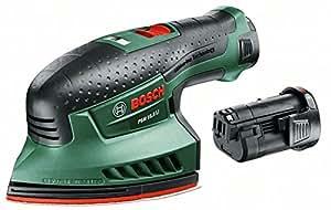 "Bosch Ponceuse multifonction ""Easy"" sans fil PSM 10,8 LI, 2 batteries 10,8V 1,3 Ah, 3 feuilles abrasives, technologie Syneon 0603976902"