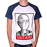 One Punch Man Herren T-Shirt Saitama Hero Weiß Blau - L