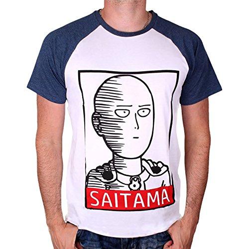 One Punch Man Camiseta Hombre Saitama Hero Blanco Azul...