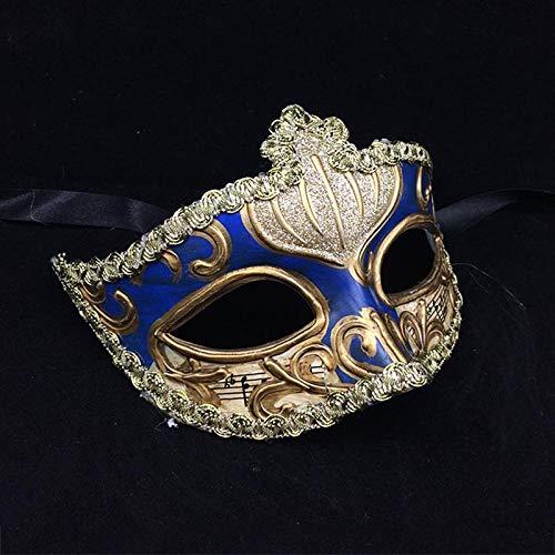 ZjkMr Halloween Kunst Maske weiblichen Abschlussball Requisiten Retro sexy europäischen und amerikanischen Stil Maske halbes Gesicht Männer und Frauen C 11cmX16cm