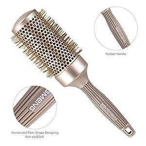 Spazzola per capelli antistatica BANGMENG Round Barrel | Tecnologia ionica in ceramica termica nano | Proteggi i capelli, migliora la consistenza, per lisciare, modellare e asciugare (2 pollici)