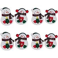 Sweetmilktea - 8 tenedores de muñeco de nieve para decoración de mesa de Navidad