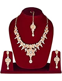 Party And Wedding Wear Gold Plated Necklace Jewellery Set With Earrings And Maangtika For Girls/Women