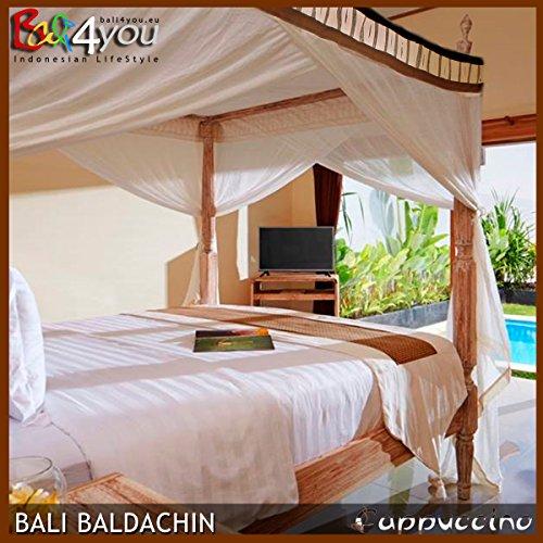 Bali Baldachin Moskitonetz Cappuccino 160x200 inkl 4 Quasten Betthimmel Mückenschutz