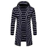 UFACE Herren Kapuzen Solid Strick Streifen Mantel Jacke Cardigan Langarm Tops Bluse
