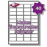 40 Pro Blatt, 10 Blätter, 400 Etiketten. Label Planet® A4 Matt Transparente Polyester Etiketten Für Laserdrucker 45.7 x 25.4mm, LP40/45 MTP.