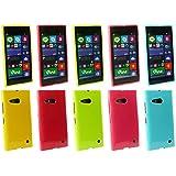Emartbuy® Nokia Lumia 735 / Lumia 730 Dual Sim Shiny Gloss Gel Hülle Schutzhülle Case Cover Packung 5 - Hot Rosa, Rot, Blau, Gelb, Grün