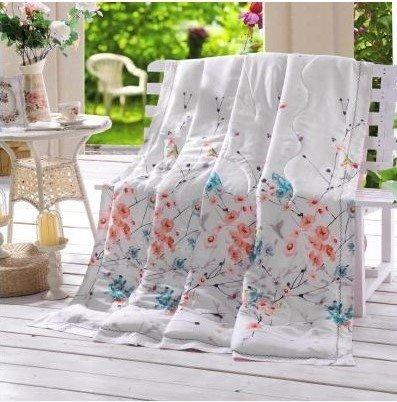 King/Queen Bett Comforter Quilt Sommer atmungsaktiv Hollowfibre gefüllte Federn Quilt, Doppel Seide Sommer kühlen Sommer Federdecke, Kaffee Blume, 150 × 200 cm