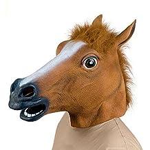 Demarkt Juguete máscara de caucho látex de la cabeza de caballo de decoración para el partido de Halloween, (color marrón )