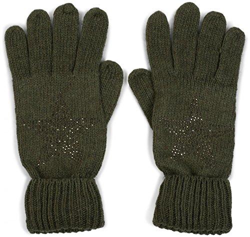 styleBREAKER warme Handschuhe mit Strass Nieten Stern Applikation und doppeltem Bund, Strickhandschuhe, Damen 09010008, Farbe:Oliv