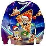 Loveternal Unisex Chrismas Jumper Carino Pizza Gatto Divertente Xmas Tops Santa Hat Manica Lunga Girocollo Vestiti Maglione S