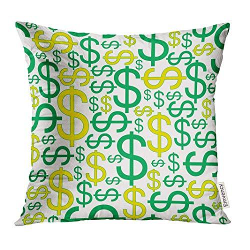 bezugGrünes Bank-Dollar-Zeichen-Zusammenfassungs-Weiß-Banknote Decor Square Accent Pillowcase 45x45 cm ()