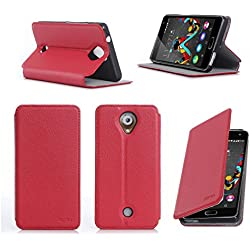 Etui Wiko Ufeel 4G 2016 rouge luxe Ultra Slim Cuir Style avec stand - Housse Folio Flip Cover coque de protection smartphone Wiko U feel rouge - Accessoires pochette XEPTIO : Exceptional case !