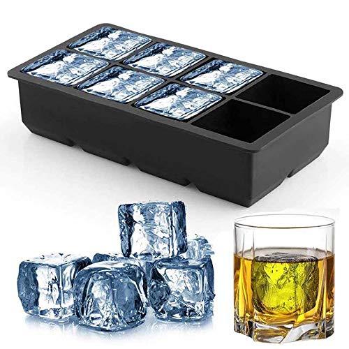 Harddo Silikon-Eiswürfelschale, großes quadratisches Eiswürfel-Silikonschalenset mit BPA-freiem Kunststoffdeckel, flexiblen stapelbaren Gefrierformen für Whisky, Cocktails und Mixgetränke Old Fashioned Cocktail