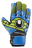 Uhlsport Kinder Eliminator Soft SF Junior Torwarthandschuhe, Schwarz/Blau/Power Grün, 7.0