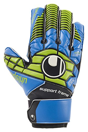 Uhlsport Kinder Eliminator Soft SF Junior Torwarthandschuhe, Schwarz/Blau/Power Grün, 5.0