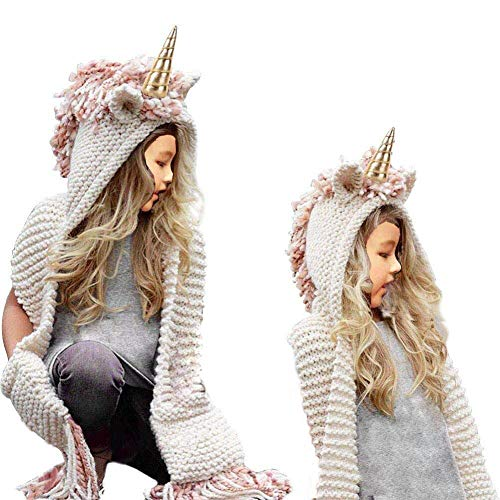 Girls Hoodie Hat Scarf, SevenPanda Unicorn Tassel Wool Winter Knitted Shawl Hats Cap Hooded Cloak Caps Beanies Party Cosplay Gifts for 3-12 Year Old Children Girls