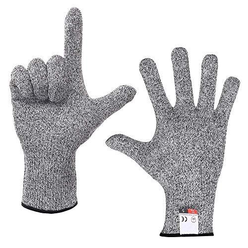 Klasse 5 HPPE Schnittschutzhandschuhe Mit Schnittschutzbeschichtung Verschleißfeste Küchenarbeitshandschuhe Aus Holz,Grey-XL/26cm